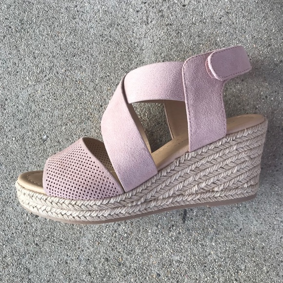 de48f1477 City Classified Shoes | Blush Velcro Strap Wedge Espadrill | Poshmark